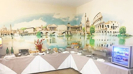 Restaurant oasis petit déjeuner ele green park hotel pamphili rome, italie